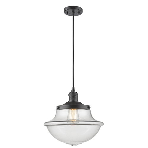 Innovations Lighting Oxford School House Oiled Rubbed Bronze 12-Inch One-Light Pendant with Clear Bell Glass
