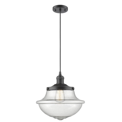 Franklin Restoration Oil Rubbed Bronze 12-Inch LED Pendant with Seedy Large Oxford Shade and Black Textured Cord