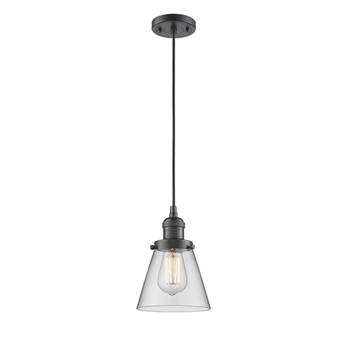 Innovations Lighting Small Cone Oiled Rubbed Bronze Six-Inch LED Mini Pendant with Clear Cone Glass and Black Cord