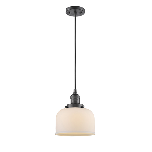 Innovations Lighting Large Bell Oiled Rubbed Bronze Eight-Inch LED Mini Pendant with Matte White Cased Dome Glass and Black