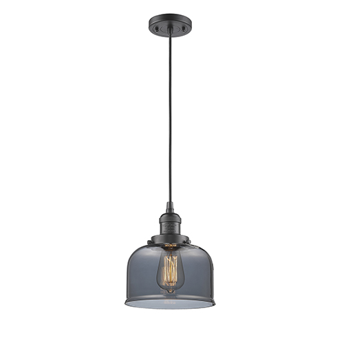Innovations Lighting Large Bell Oiled Rubbed Bronze Eight-Inch One-Light Mini Pendant with Smoked Dome Glass and Black Cord