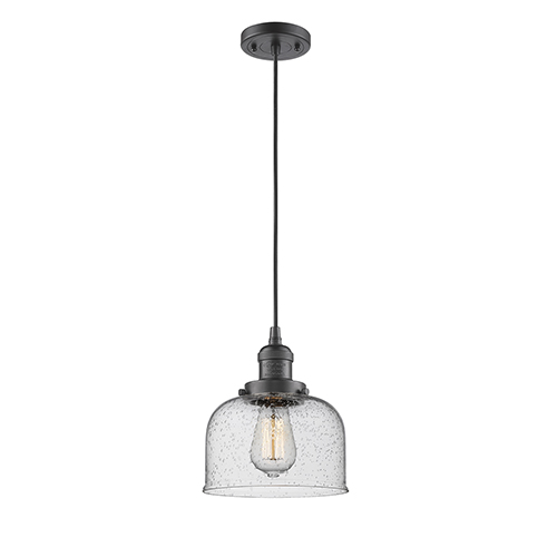 Innovations Lighting Large Bell Oiled Rubbed Bronze Eight-Inch One-Light Mini Pendant with Seedy Dome Glass and Black Cord