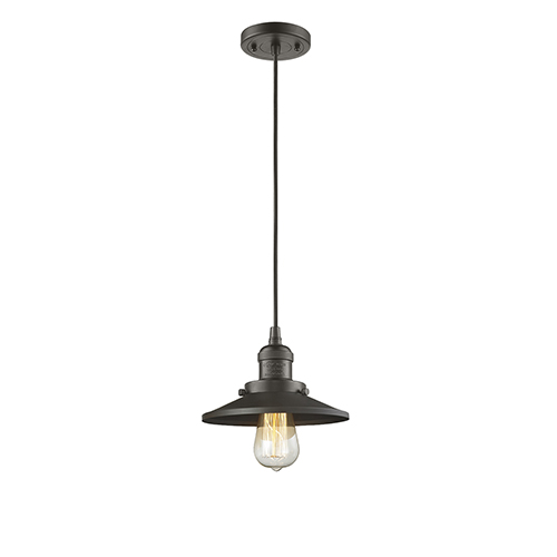 Railroad Oiled Rubbed Bronze Eight-Inch One-Light Mini Pendant with Black Cord