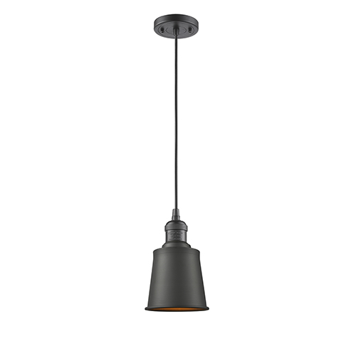 Innovations Lighting Addison Oiled Rubbed Bronze Five-Inch One-Light Mini Pendant with Black Cord
