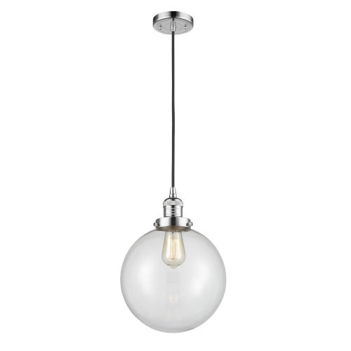 Franklin Restoration Polished Chrome 10-Inch One-Light Pendant with Clear Beacon Shade and Black Textured Cord