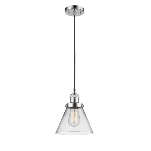 Franklin Restoration Polished Chrome Eight-Inch LED Mini Pendant with Clear Large Cone Shade and Black Textured Cord