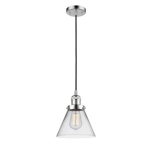 Large Cone Polished Chrome One-Light Mini Pendant with Seedy Glass