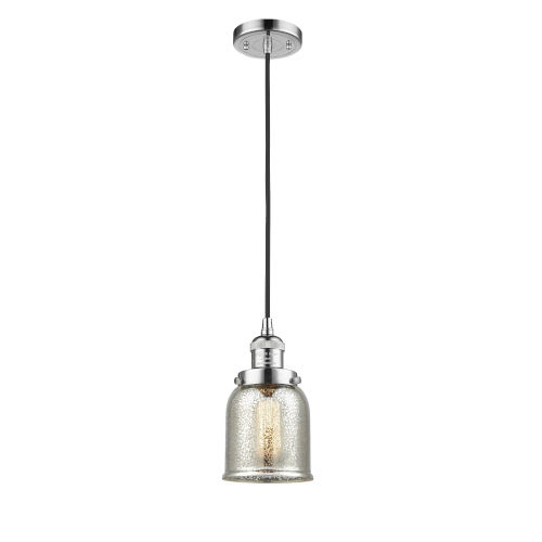 Small Bell Polished Chrome One-Light Mini Pendant with Silver Plated Mercury Glass