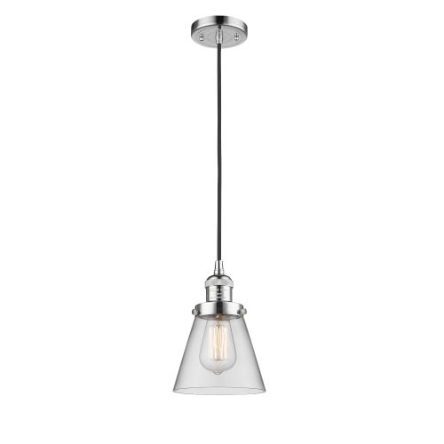 Small Cone Polished Chrome One-Light Mini Pendant with Clear Glass