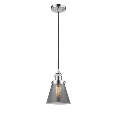 Small Cone Polished Chrome One-Light Mini Pendant with Smoked Glass