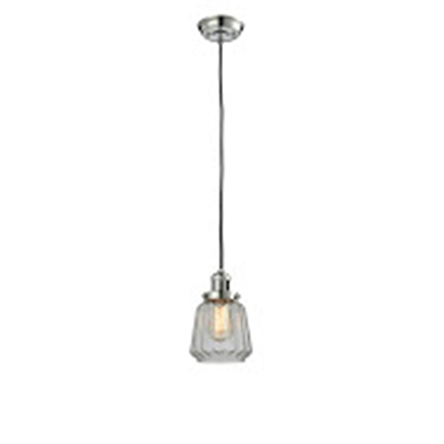 Innovations Lighting Chatham Polished Nickel Six-Inch LED Mini Pendant with Clear Fluted Novelty Glass and Black Cord