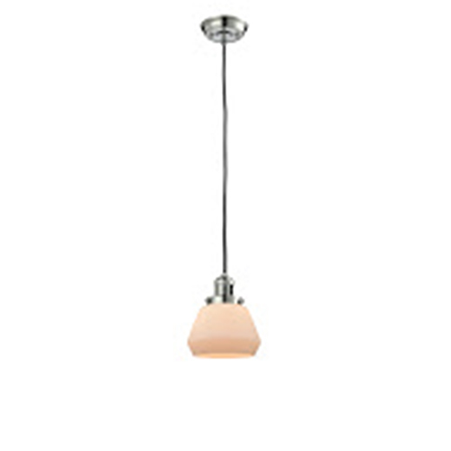 Innovations Lighting Fulton Polished Nickel Seven-Inch LED Mini Pendant with Matte White Cased Sphere Glass and Black Cord