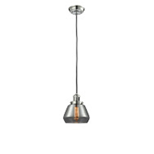 Innovations Lighting Fulton Polished Nickel Seven-Inch LED Mini Pendant with Smoked Sphere Glass and Black Cord