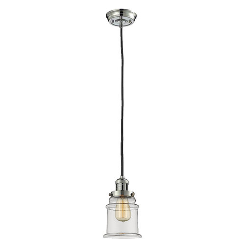 Innovations Lighting Canton Polished Nickel Six-Inch One-Light Mini Pendant with Clear Bell Glass