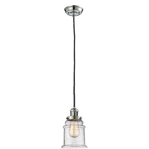 Canton Polished Nickel Six-Inch LED Mini Pendant with Seedy Bell Glass