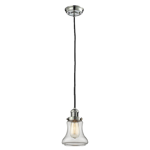 Innovations Lighting Bellmont Polished Nickel Six-Inch LED Mini Pendant with Clear Hourglass Glass