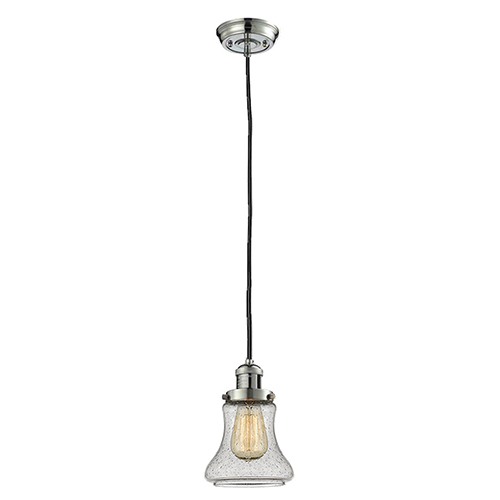 Bellmont Polished Nickel Six-Inch One-Light Mini Pendant with Seedy Hourglass Glass