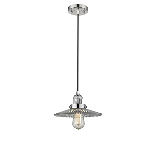 Halophane Polished Nickel Nine-Inch LED Mini Pendant with Halophane Cone Glass and Black Cord