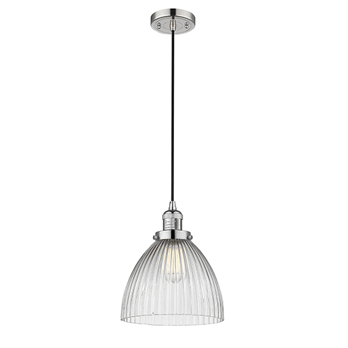 Innovations Lighting Seneca Falls Polished Nickel 10-Inch LED Mini Pendant with Clear Dome Glass