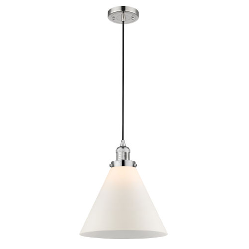 X-Large Cone Polished Nickel LED Pendant with Matte White Cased Glass