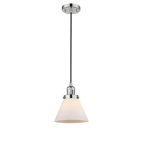 Innovations Lighting Large Cone Polished Nickel Eight-Inch One-Light Mini Pendant with Matte White Cased Cone Glass and Black