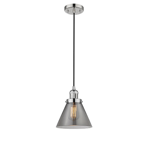 Innovations Lighting Large Cone Polished Nickel Eight-Inch LED Mini Pendant with Smoked Cone Glass and Black Cord