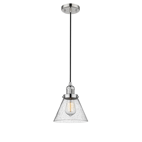 Large Cone Polished Nickel Eight-Inch LED Mini Pendant with Seedy Cone Glass and Black Cord