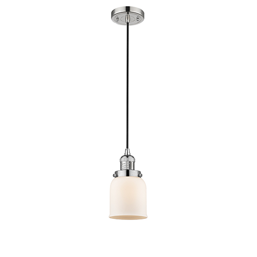 Small Bell Polished Nickel Five-Inch LED Mini Pendant with Matte White Cased Bell Glass and Black Cord