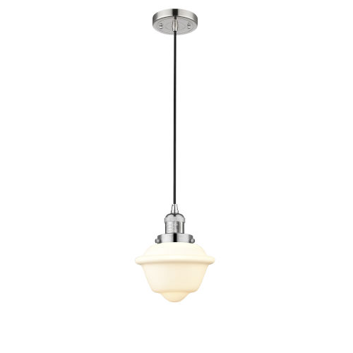 Small Oxford Polished Nickel 3.5W LED Mini Pendant with Matte White Cased Glass