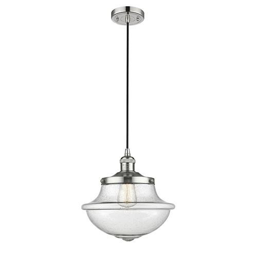 Innovations Lighting Oxford School House Polished Nickel 12-Inch One-Light Pendant with Seedy Bell Glass