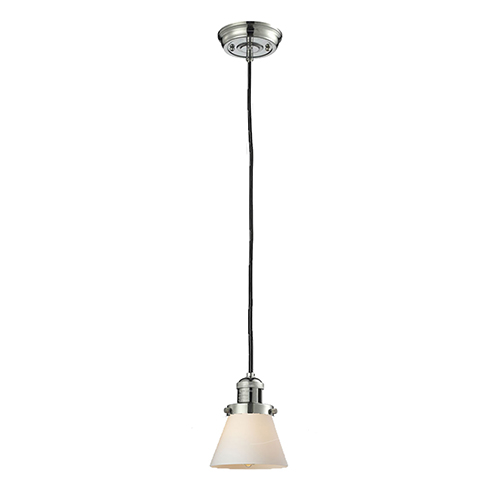 Small Cone Polished Nickel Six-Inch LED Mini Pendant with Matte White Cased Cone Glass and Black Cord