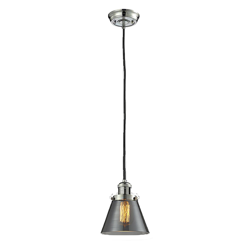 Innovations Lighting Small Cone Polished Nickel Six-Inch One-Light Mini Pendant with Smoked Cone Glass and Black Cord