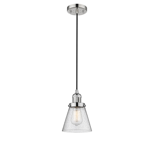 Innovations Lighting Small Cone Polished Nickel Six-Inch LED Mini Pendant with Seedy Cone Glass and Black Cord