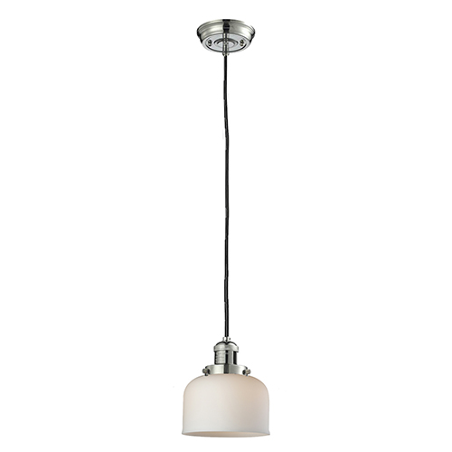 Innovations Lighting Large Bell Polished Nickel Eight-Inch One-Light Mini Pendant with Matte White Cased Dome Glass and Black