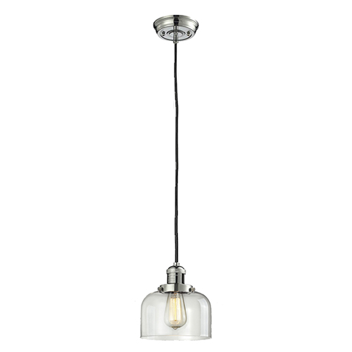 Innovations Lighting Large Bell Polished Nickel Eight-Inch One-Light Mini Pendant with Clear Dome Glass and Black Cord