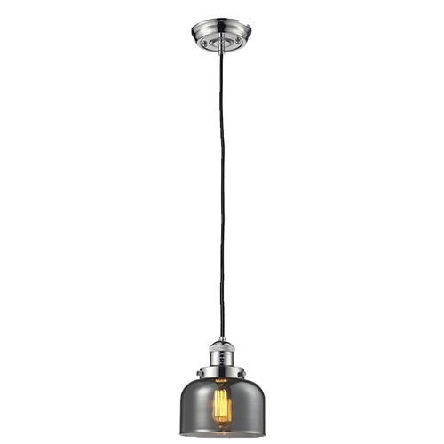 Large Bell Polished Nickel Eight-Inch LED Mini Pendant with Smoked Dome Glass and Black Cord
