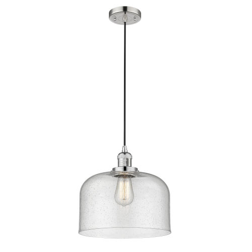 X-Large Bell Polished Nickel LED Pendant with Seedy Glass