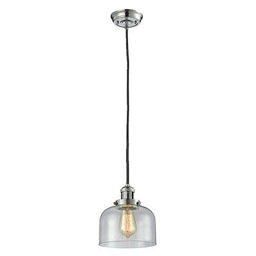 Innovations Lighting Large Bell Polished Nickel Eight-Inch LED Mini Pendant with Seedy Dome Glass and Black Cord