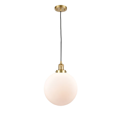 Franklin Restoration Satin Gold 12-Inch LED Pendant with Matte White Cased Beacon Shade and Black Textured Cord