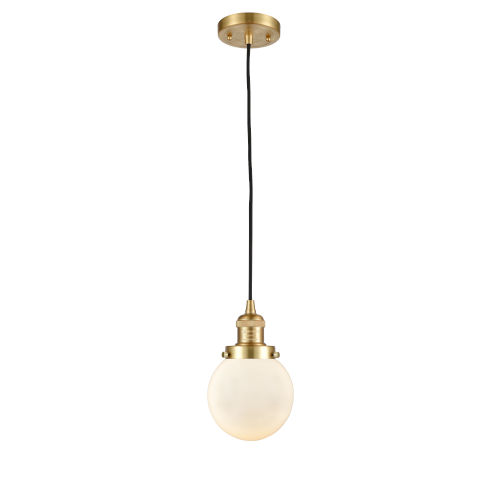Franklin Restoration Satin Gold Six-Inch One-Light Mini Pendant with Matte White Cased Beacon Shade and Black Textured Cord
