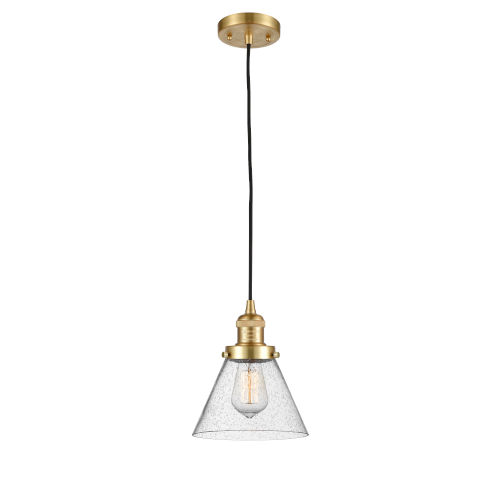 Franklin Restoration Satin Gold Eight-Inch LED Mini Pendant with Seedy Large Cone Shade and Black Textured Cord