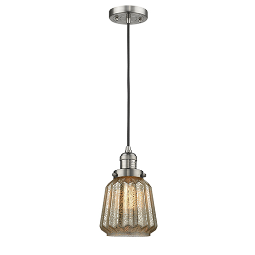 Innovations Lighting Chatham Brushed Satin Nickel Six-Inch LED Mini Pendant with Mercury Fluted Novelty Glass and Black Cord