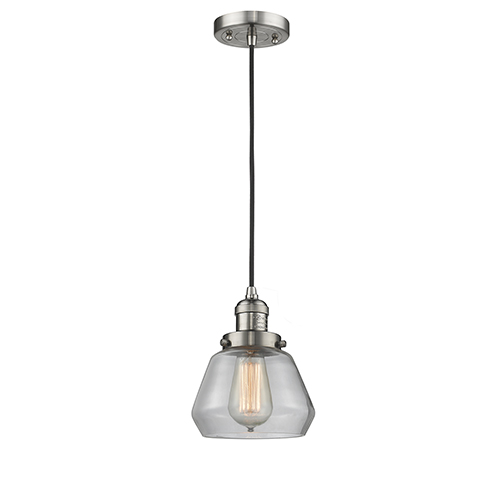 Innovations Lighting Fulton Brushed Satin Nickel Seven-Inch One-Light Mini Pendant with Clear Sphere Glass and Black Cord