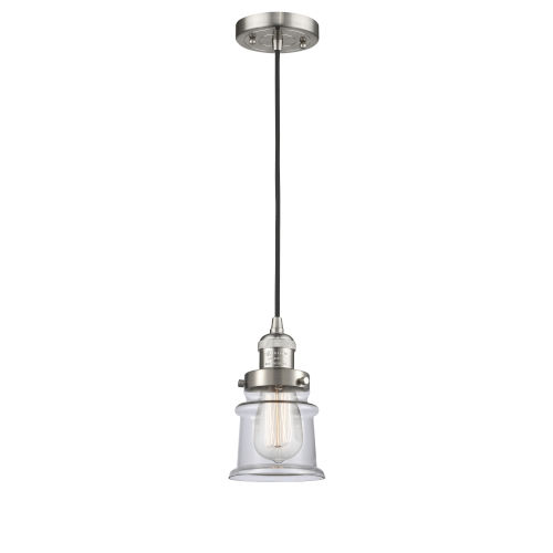 Franklin Restoration Brushed Satin Nickel Six-Inch One-Light Mini Pendant with Clear Canton Shade and Black Textured Cord