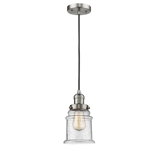 Innovations Lighting Canton Brushed Satin Nickel Six-Inch LED Mini Pendant with Seedy Bell Glass