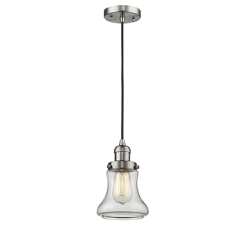 Bellmont Brushed Satin Nickel Six-Inch LED Mini Pendant with Clear Hourglass Glass