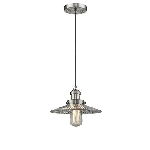 Innovations Lighting Halophane Brushed Satin Nickel Nine-Inch LED Mini Pendant with Halophane Cone Glass and Black Cord