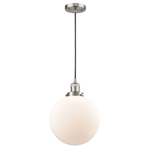 Franklin Restoration Brushed Satin Nickel 10-Inch LED Pendant with Matte White Cased Beacon Shade and Black Textured Cord