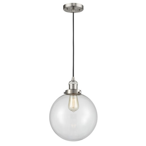 Franklin Restoration Brushed Satin Nickel 10-Inch One-Light Pendant with Clear Beacon Shade and Black Textured Cord