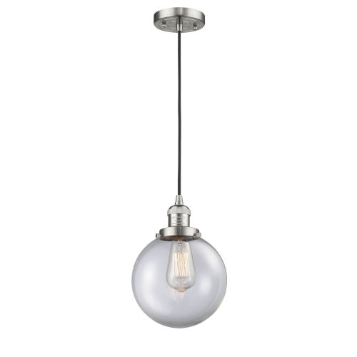 Franklin Restoration Brushed Satin Nickel Eight-Inch One-Light Mini Pendant with Clear Beacon Shade and Black Textured Cord